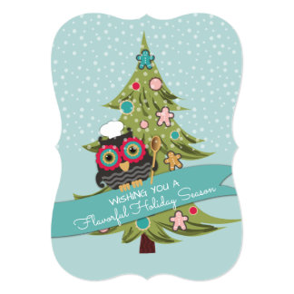 Owl chef cookie Christmas tree holiday baking 13 Cm X 18 Cm Invitation Card