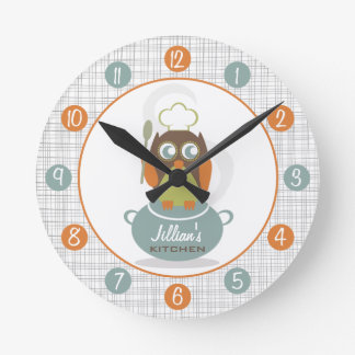 Owl Chef Personalized Kitchen Clock