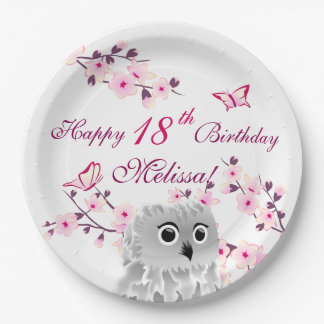 Owl Cherry Blossoms  Birthday Party Paper Plate