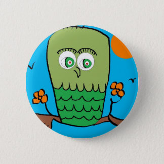 OWL CHILLIN 6 CM ROUND BADGE