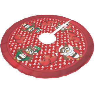 Owl Christmas Fun Brushed Polyester Tree Skirt