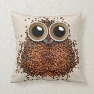 Owl Coffee abstract cream decor pillow