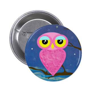 owl collection 6 cm round badge
