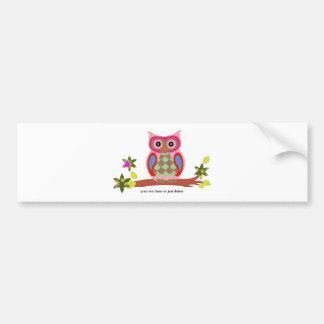 Owl colorful decorative art custom bumper sticker car bumper sticker