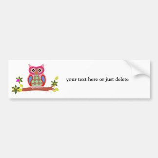 Owl colorful decorative art custom bumper sticker