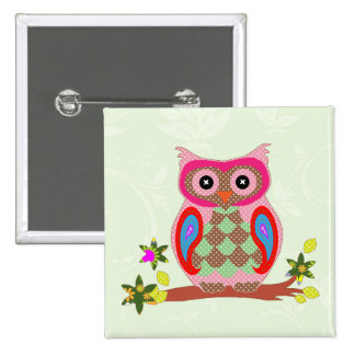Owl colorful patchwork art decorative button