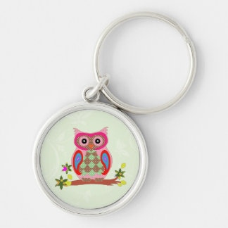 Owl colorful patchwork art decorative keychain