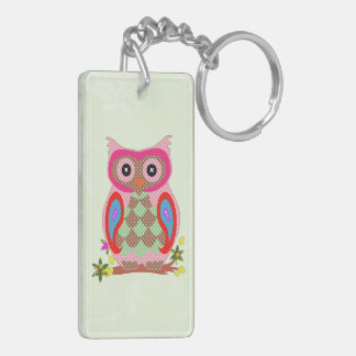 Owl colorful patchwork art decorative keychain
