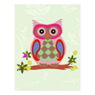 Owl colorful patchwork art decorative postcard
