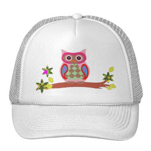 Owl colorful patchwork art decorative trucker hat