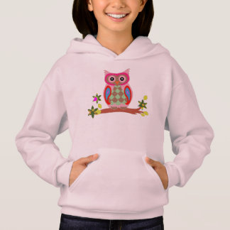 Owl colorful patchwork decorative girls hoodie