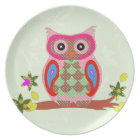 Owl colourful patchwork art decorative plate