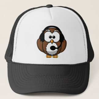 Owl Contact with Headset Trucker Hat