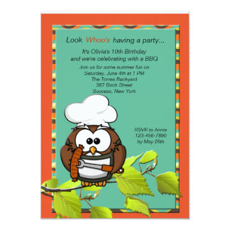 Owl Cook BBQ Invitation