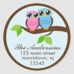Owl Couple Address Labels Round Sticker