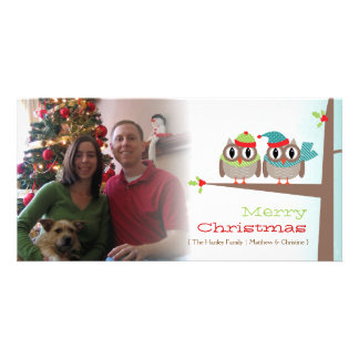 Owl Couple Christmas Photo Card