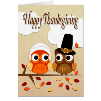 Owl Couple Dressed as Pilgrims for Thanksgiving Card