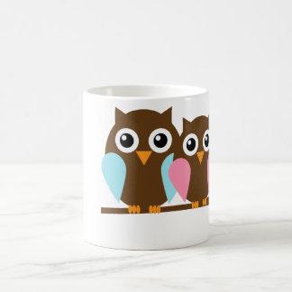Owl couple on a branch basic white mug