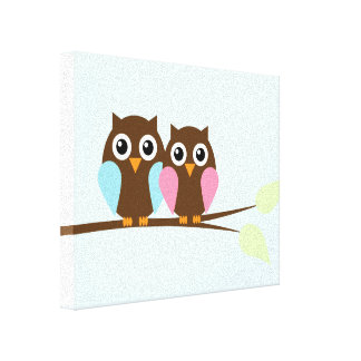 Owl couple on a branch canvas print