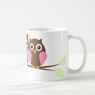 Owl couple on a branch coffee mugs