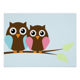 Owl couple on a branch poster