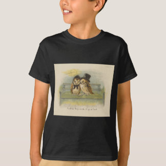 owl couple on bench T-Shirt