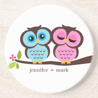 Owl Couple Personalized Coaster