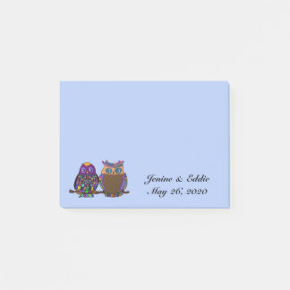 Owl Couple Wedding Favour Post it Notes