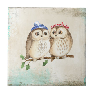 Owl couple with colourful scarfs on a tree branch. small square tile