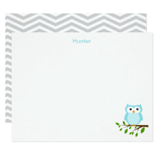 Owl Custom Thank you Note, Grey and Blue Card