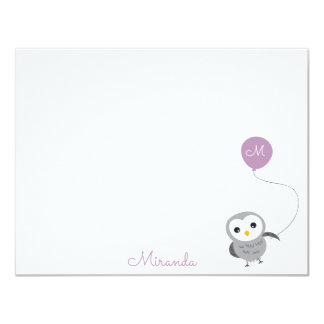 Owl Custom Thank you Note, Grey and Light Purple Card