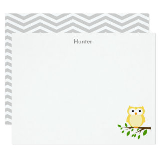 Owl Custom Thank you Note, Yellow and Grey Card