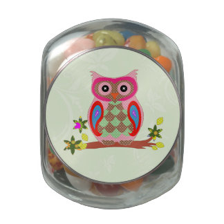 Owl cute colorful patchwork art glass candy jar