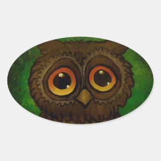 Owl cutie oval sticker