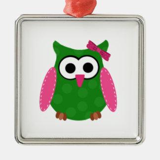Owl Square Metal Christmas Ornament