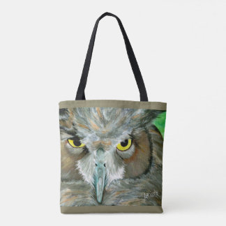 Owl Design: Double-Sided (Teal/Taupe) Tote