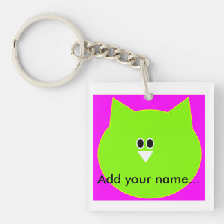 Owl design in pink and green add name key-ring Double-Sided square acrylic key ring