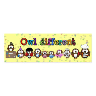 owl different pack of skinny business cards