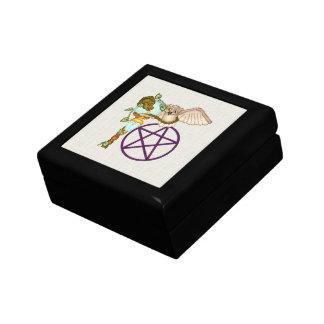 Owl, Dragon & Pentacle Pixel Art Small Square Gift Box