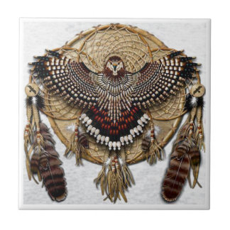 Owl Dream Catcher Small Square Tile