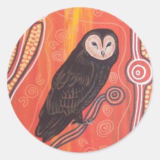 Owl Dreaming Round Sticker
