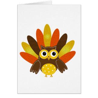 Owl dressed up as Turkey Card