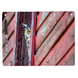 Owl Dry Erase Board with Key Hooks