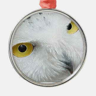 Owl Eye Round Metal Christmas Ornament