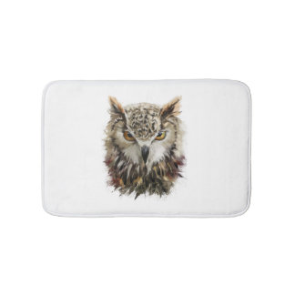Owl Face Grunge Bath Mats