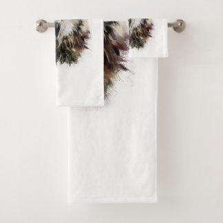Owl Face Grunge Bathroom Towel Set