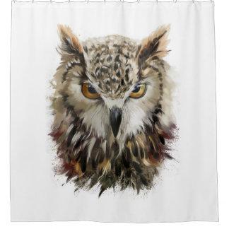 Owl Face Grunge Shower Curtain