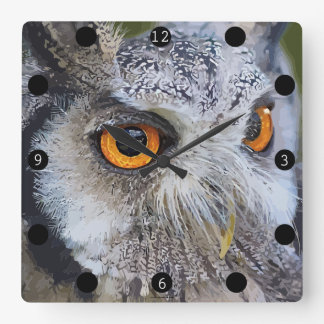 OWL face Square Wall Clock