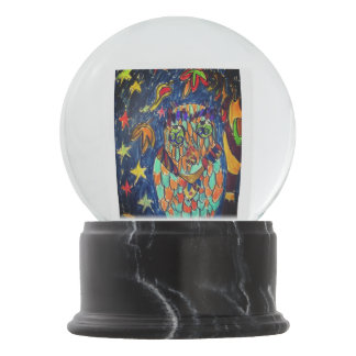 owl fall art two snow globe
