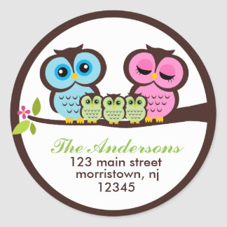 Owl Family Address Labels Round Sticker